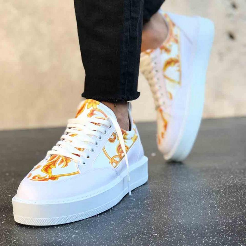 Pantofi sport barbati VRS, albi, cu talpa flexibila, cusuta, interior confortabil, ISAHAR