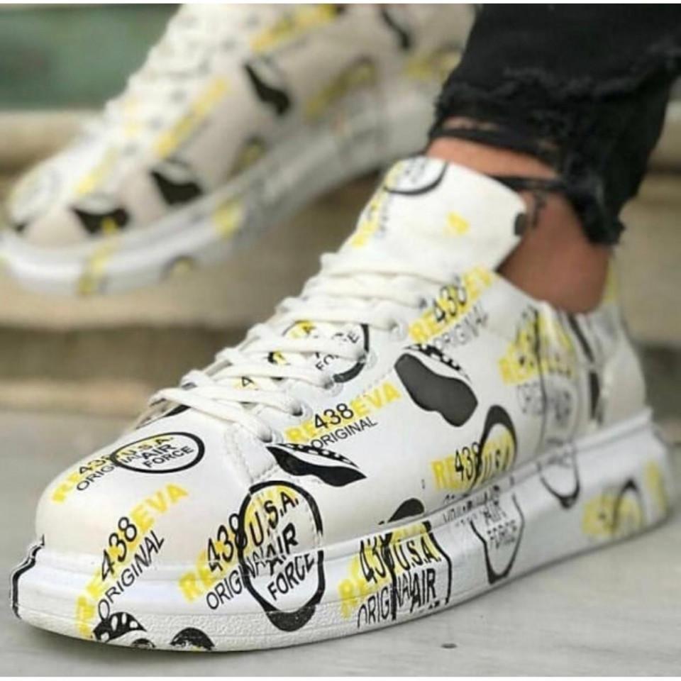 Pantofi sport albi, cu imprimeu, talpa inalta si cusuta