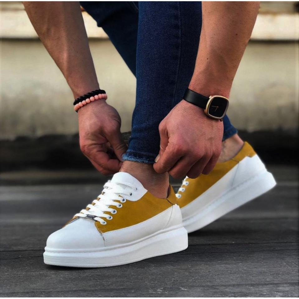 Pantofi sport barbati albi, cu siret si talpa din spuma