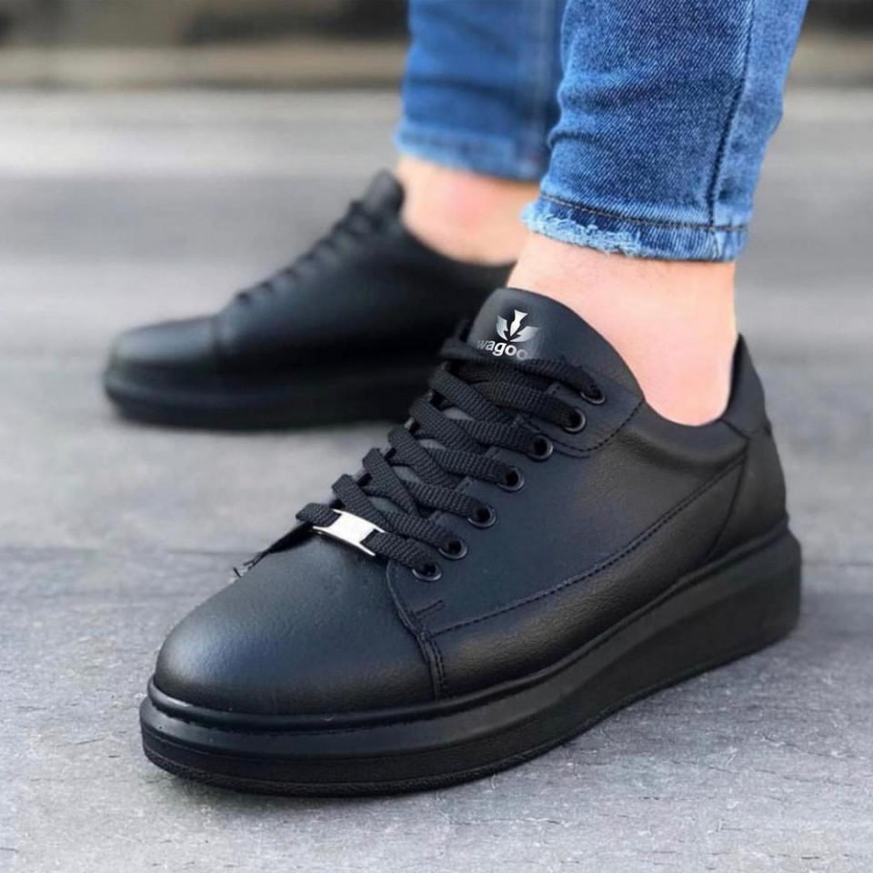 Pantofi sport barbati, negri, talpa usoara si cusuta , model casual