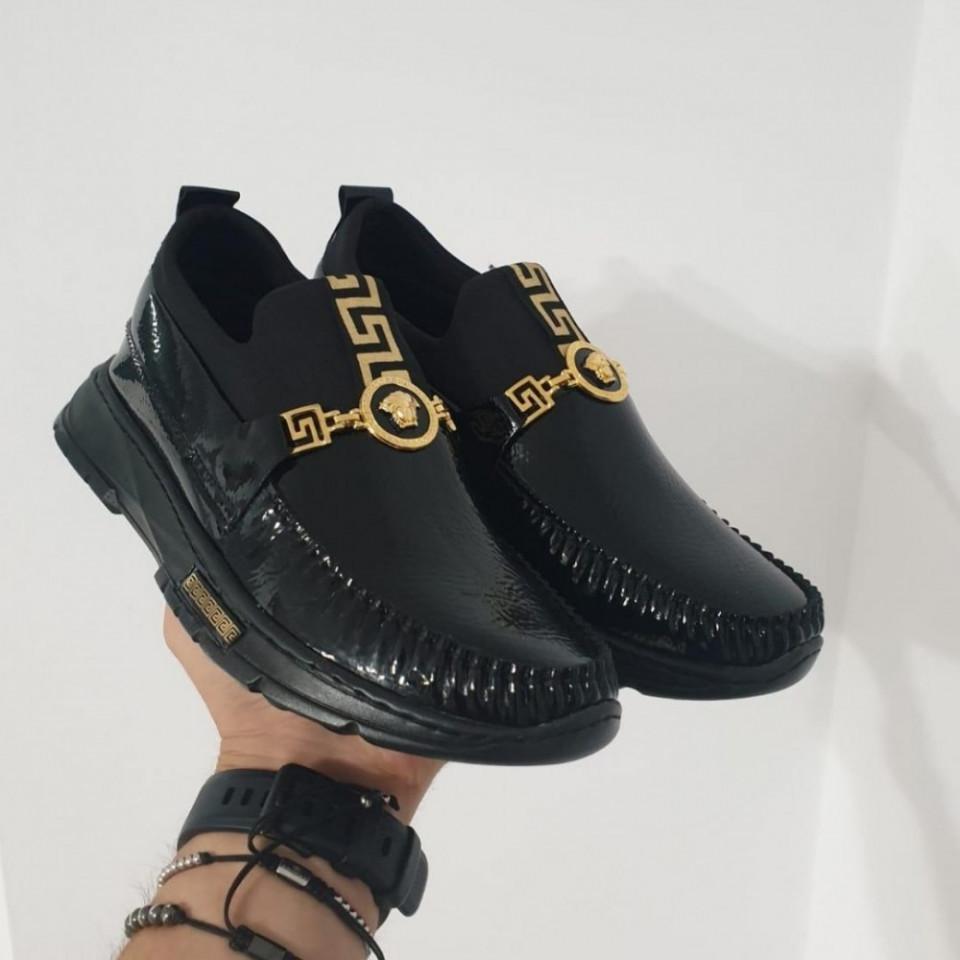 Pantofi sport negri, talpa inalta spuma, fara siret, ISAHAR