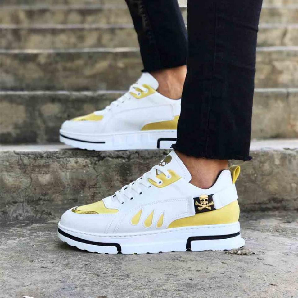 Pantofi sport albi, VRS premium, cu aplicatii aurii, ISAHAR