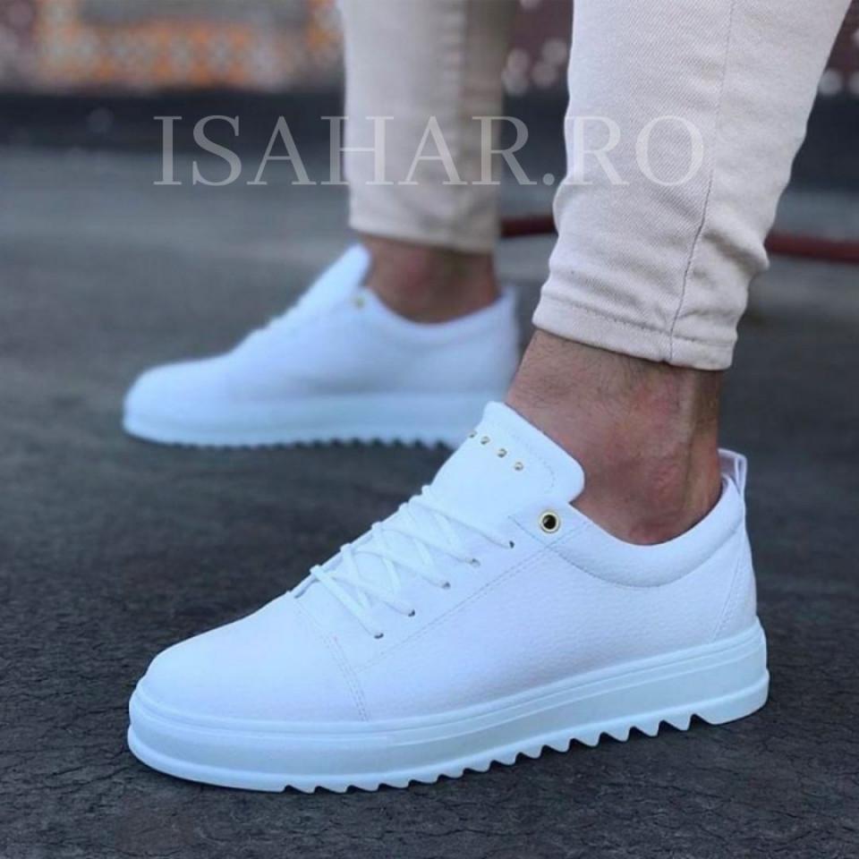 Pantofi sport barbati, albi, Armyx, model nou, casual, ISAHAR