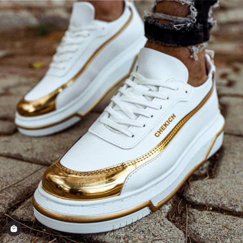 Pantofi sport barbati, albi, cu aplicatii aurii, ISAHAR