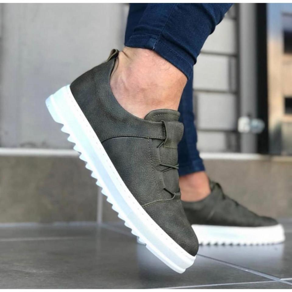 Pantofi sport barbati, kaki, fara siret, cu talpa cusuta