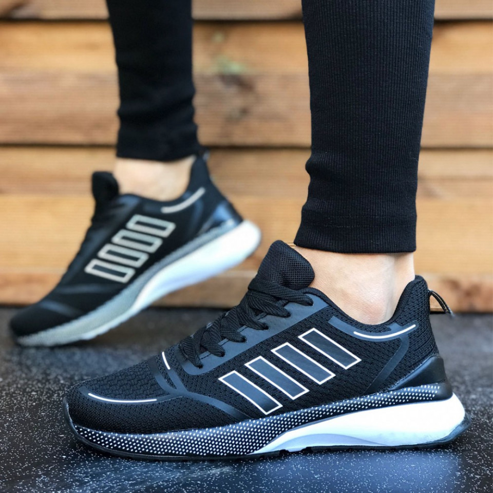 Pantofi sport barbati, negri, din plasa, foarte usori si comozi, ISAHAR