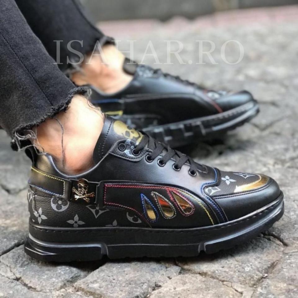 Pantofi sport negri, casual cu aplicatii colorate, ISAHAR