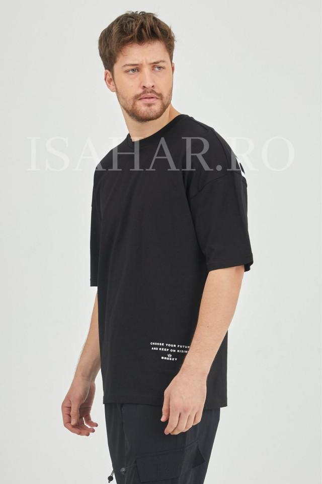 Tricou barbati, material bumbac premium, cu imprimeu text , BREEZY, ISAHAR