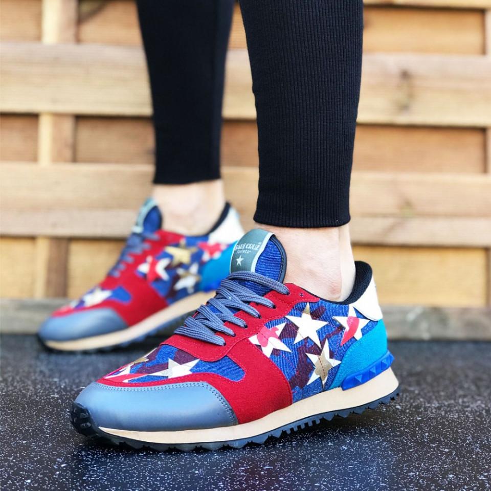 Pantofi sport barbati, albastri, cu siret, model NOU