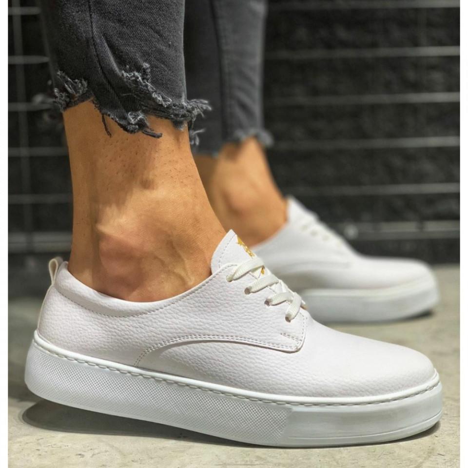 Pantofi sport barbati, albi, din piele ecologica, ISAHAR