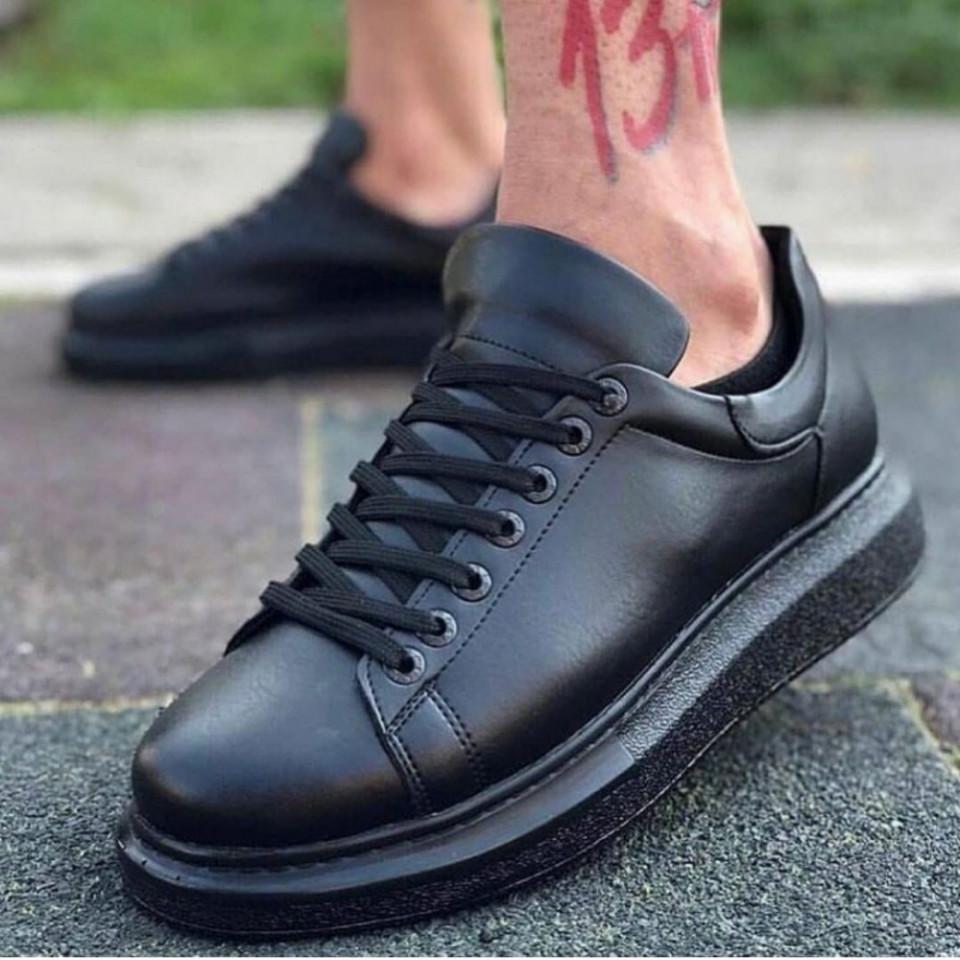 Pantofi sport barbati, model casual, cu talpa inalta, negri, ISAHAR
