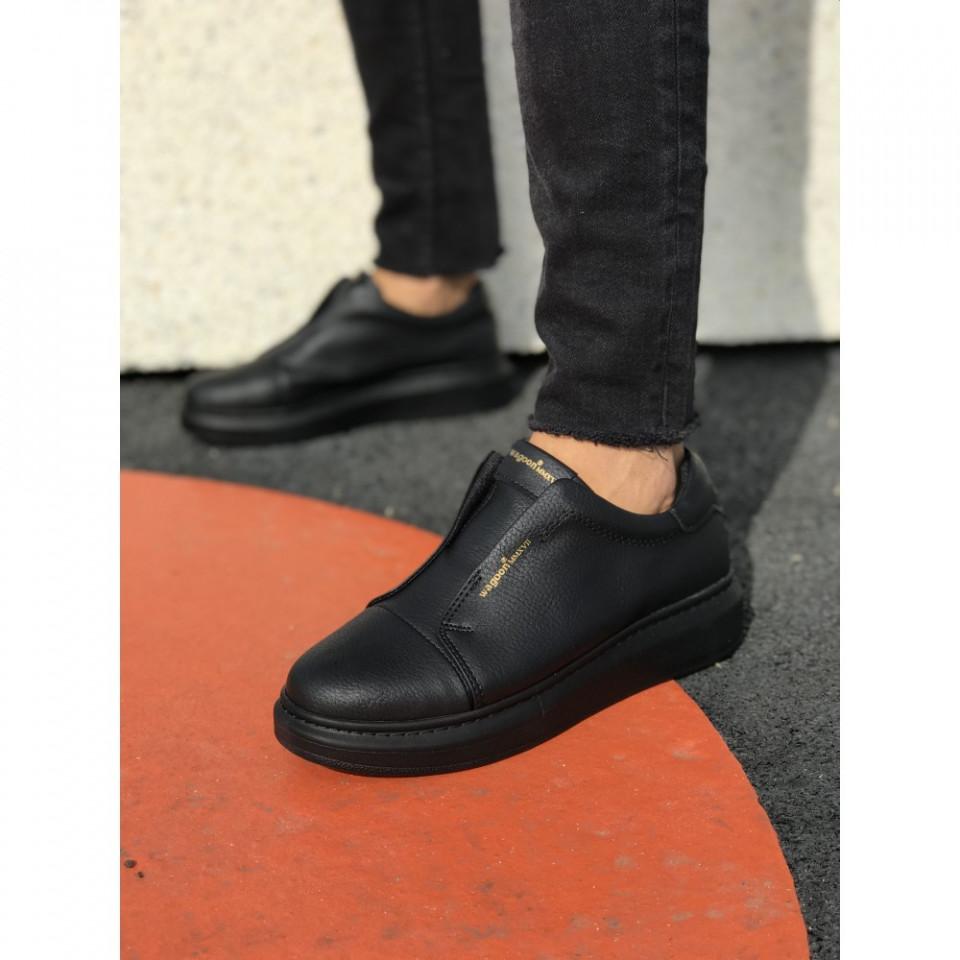 Pantofi sport barbati, negri, fara siret, ISAHAR