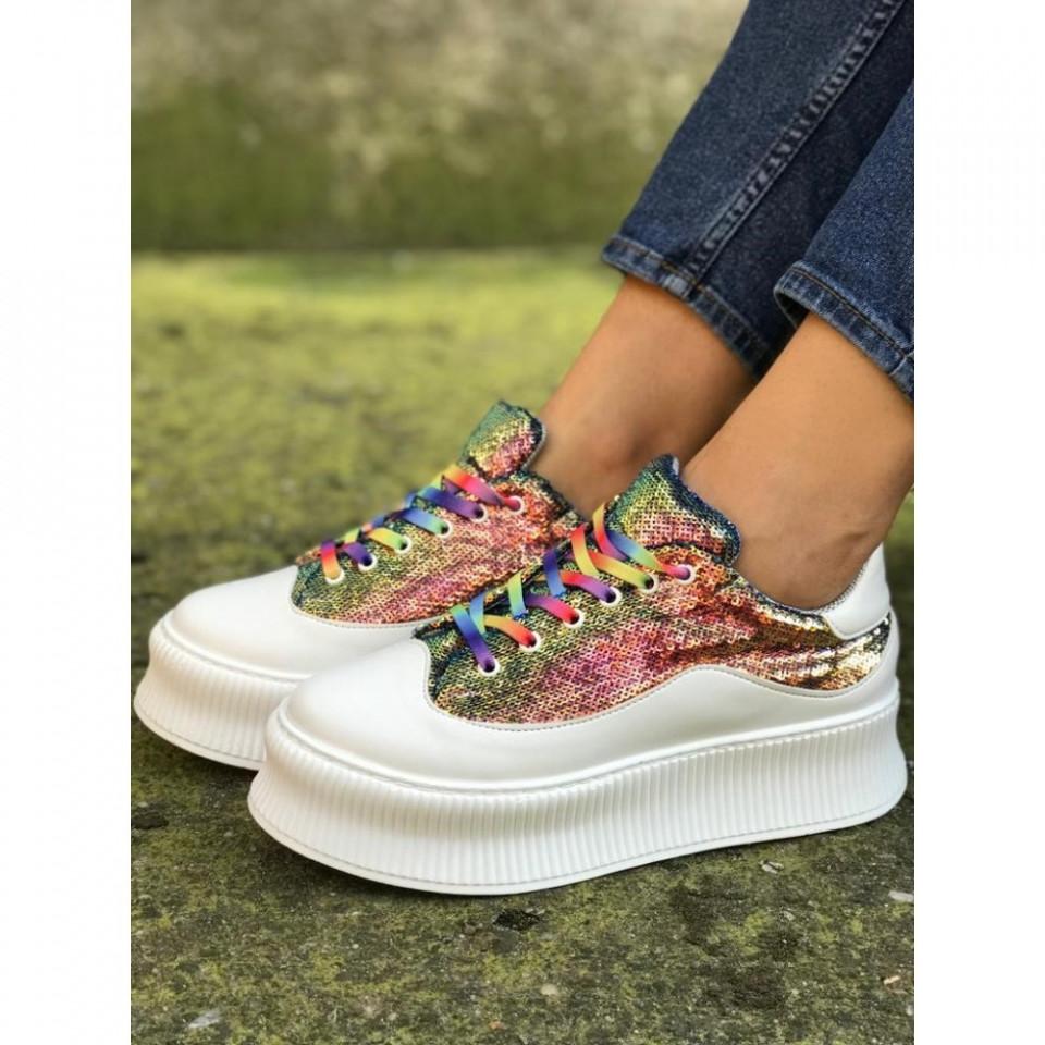 Pantofi sport dama, albi, cu sireturi si paiete colorate