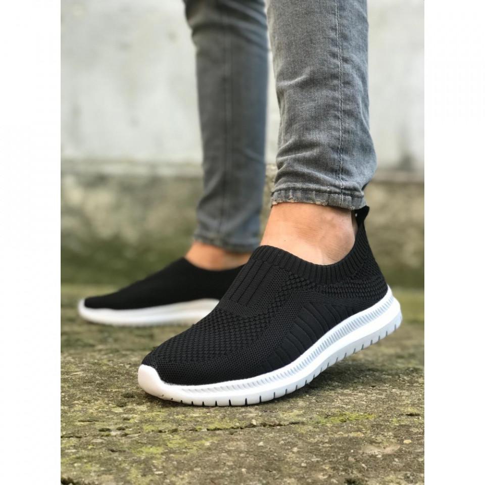 Pantofi sport negri, cu talpa flexibila din spuma, fara siret