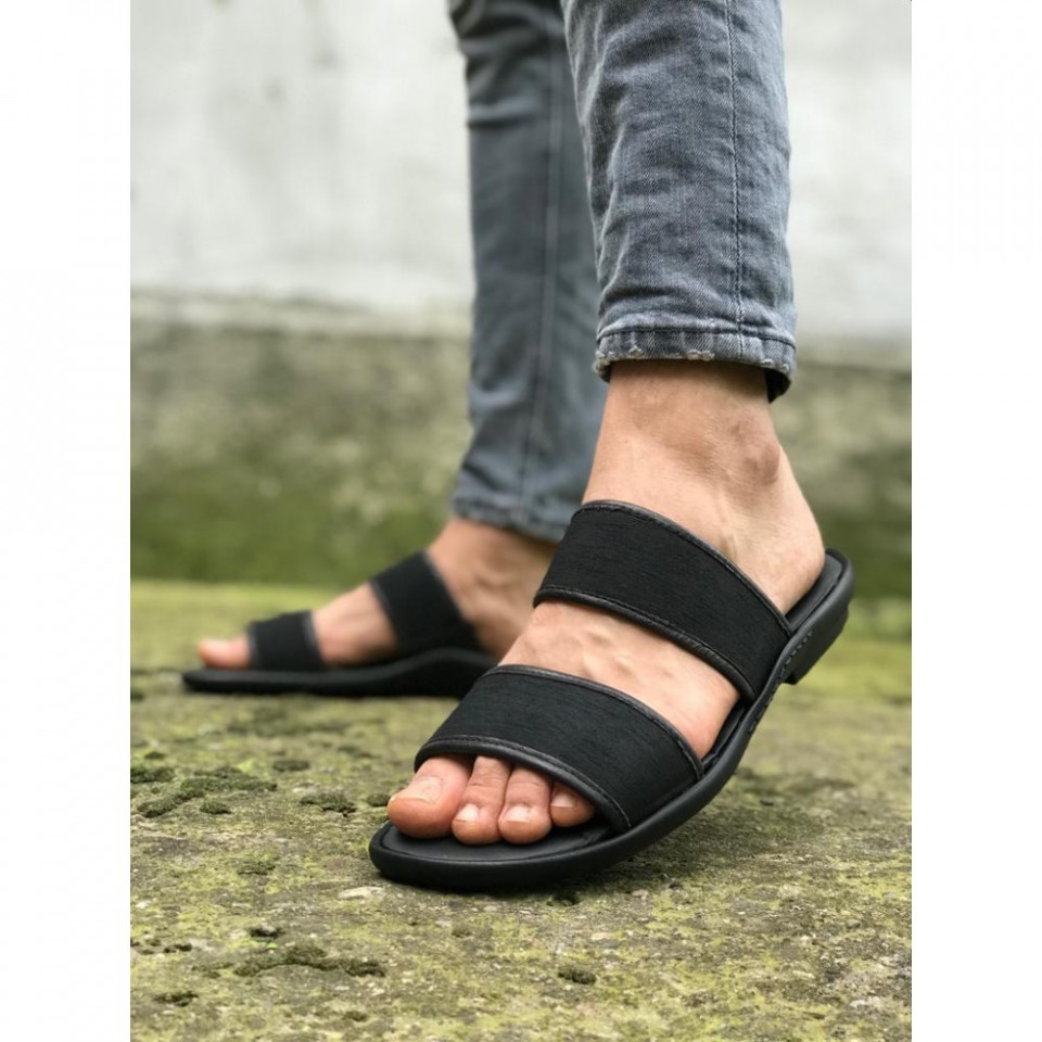 Papuci barbati, negri, din PIELE NATURALA, ISAHAR