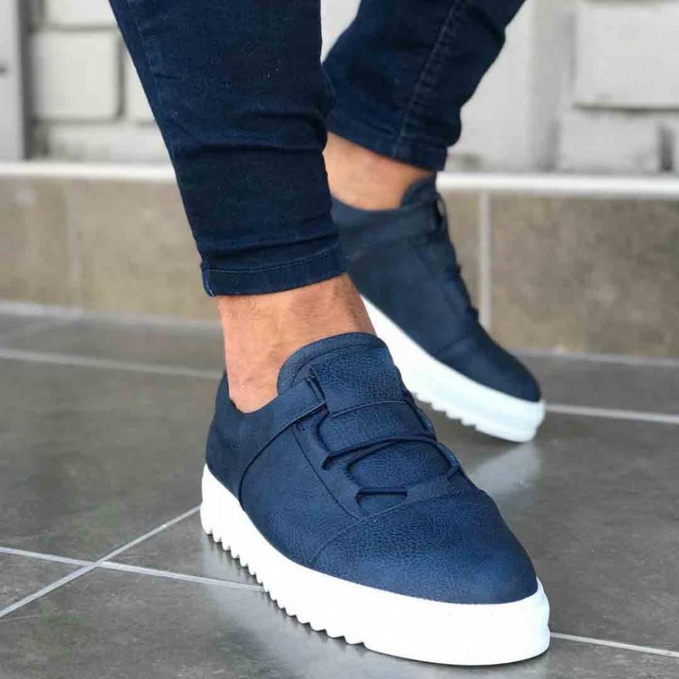 Pantofi sport barbati, albastri, confectionati din piele ecologica, fara siret