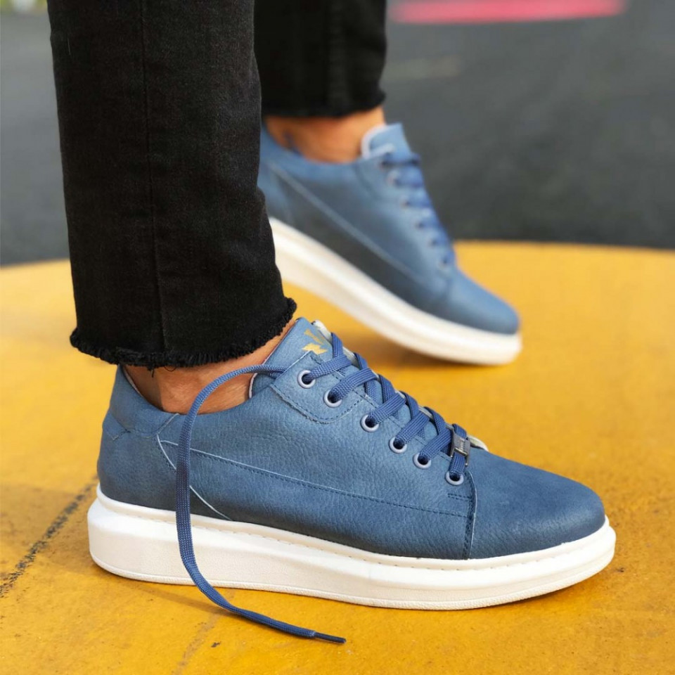 Pantofi sport barbati, albastri, confectionati din piele ecologica SNK, ISAHAR