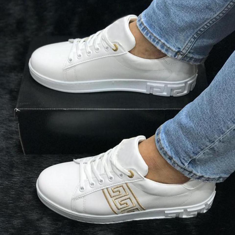 Pantofi sport barbati, albi, cu aplicatii aurii, usori si comozi, ISAHAR