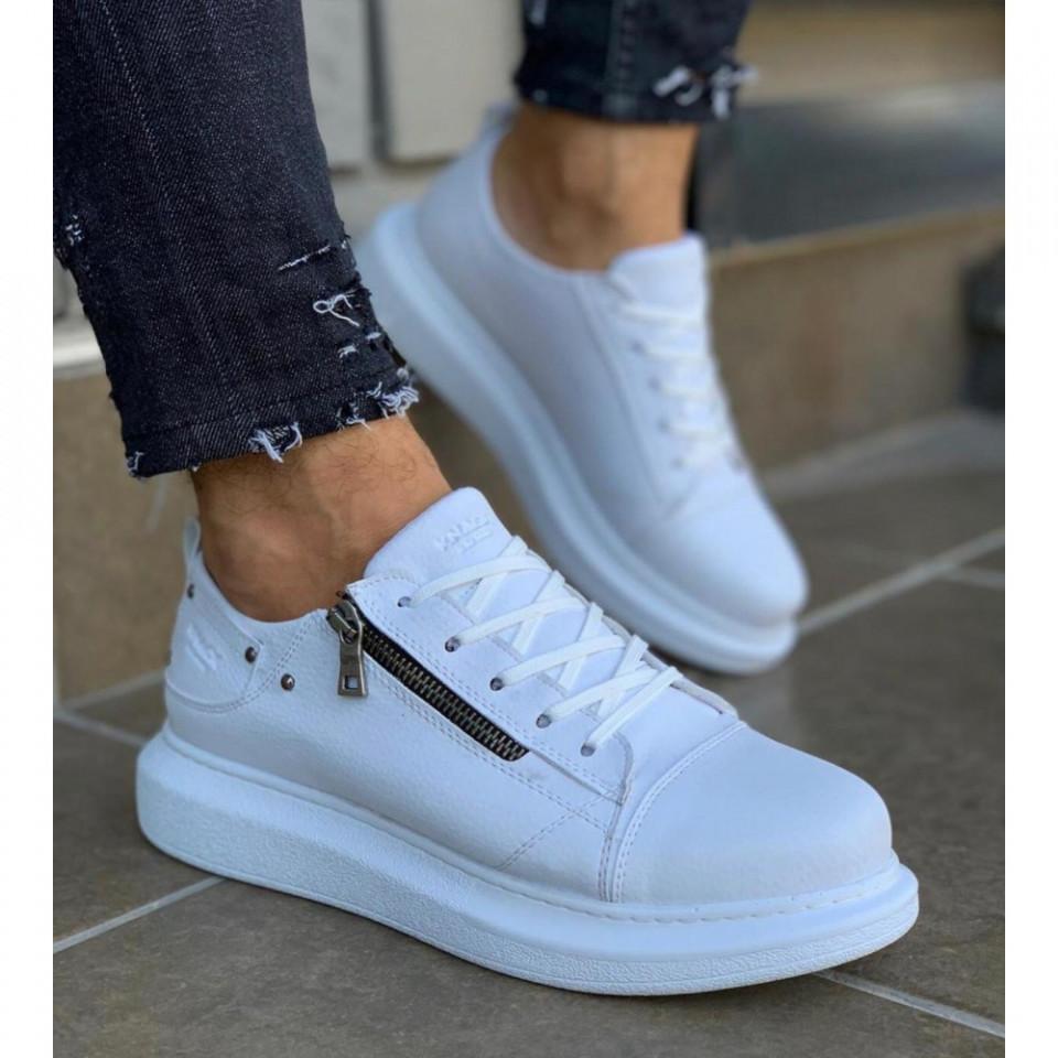 Pantofi sport barbati, albi, cu talpa inalta si fermoar decorativ, ISAHAR