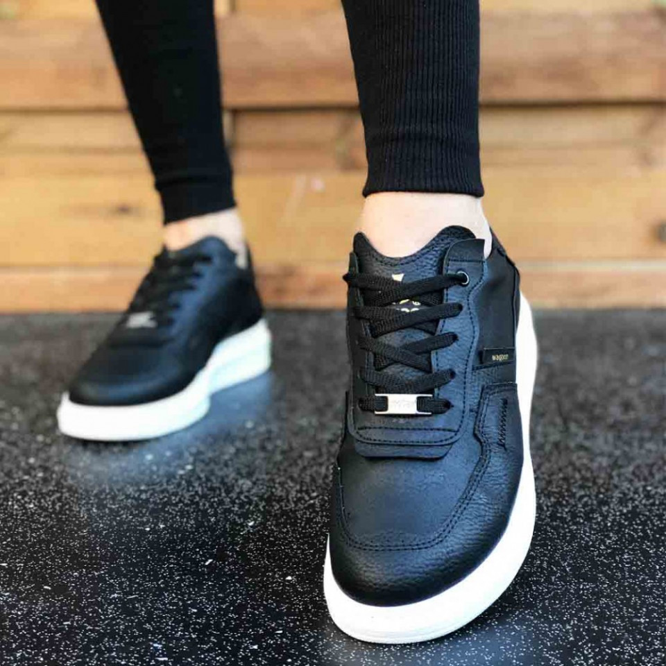 Pantofi sport barbati, negri, cu talpa alba din spuma, ISAHAR