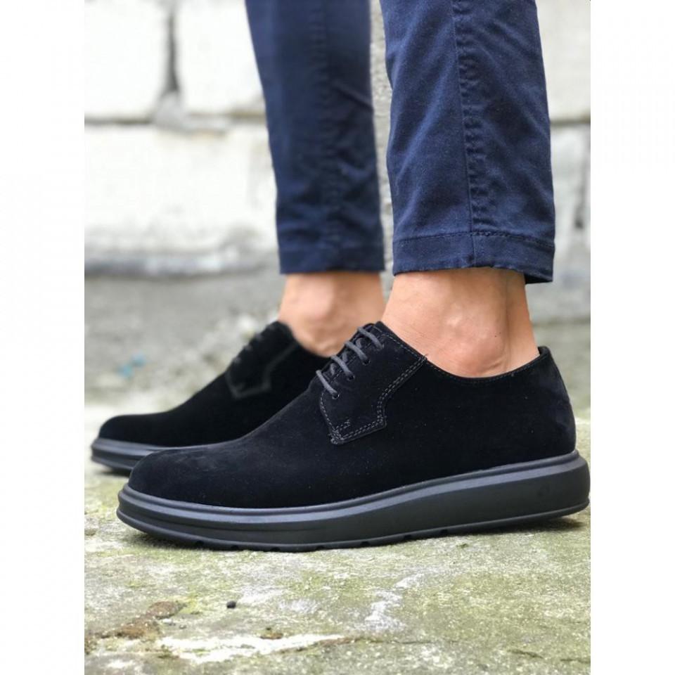 Pantofi sport barbati, negri, din piele ecologica, ISAHAR