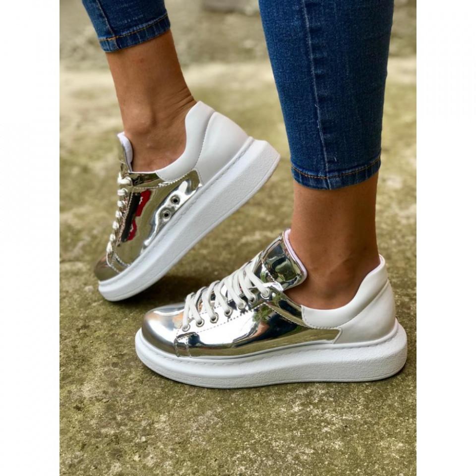 Pantofi sport dama, argintii, cu talpa inalta din spuma