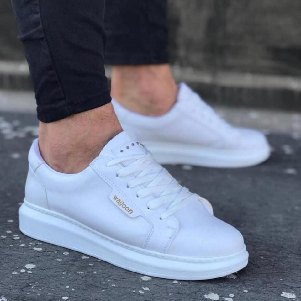 Pantofi sport barbati, albi, cu aplicatii metalice, ISAHAR