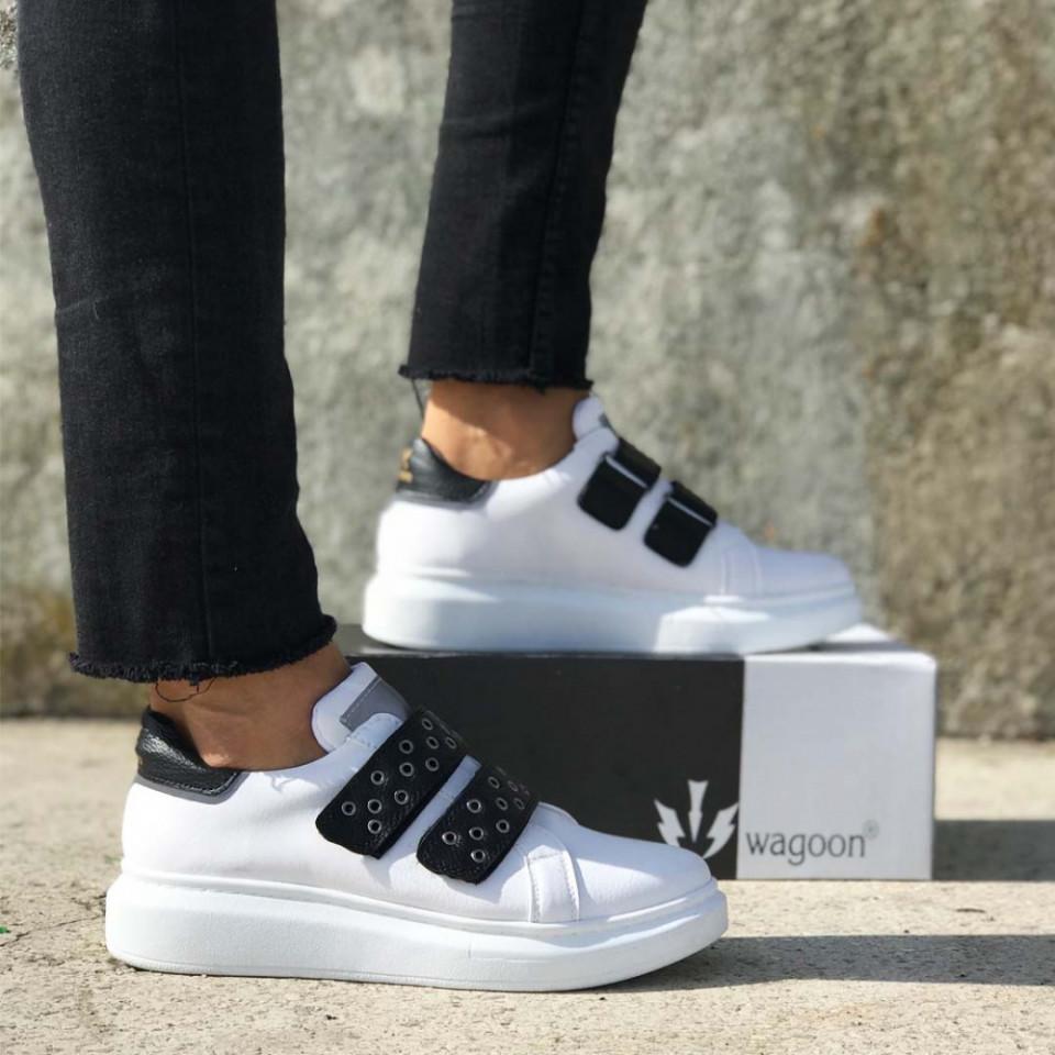 Pantofi sport barbati, albi SNK, cu aplicatii negre, inchidere arici, ISAHAR