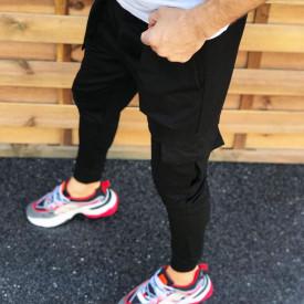 Pantaloni barbati casual negri, cambrat, cu buzunare laterale, material bumbac, ISAHAR