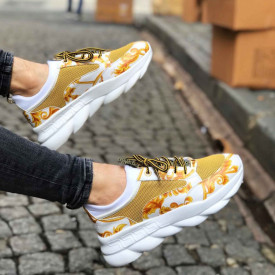 Pantofi sport albi, cu aplicatii galbene, ISAHAR