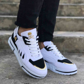 Pantofi sport barbati albi, model VRS premium, cu aplicatii negre, ISAHAR