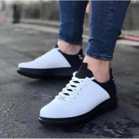 Pantofi sport barbati casual albi, cu siret, din piele ecologica