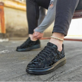 Pantofi sport barbati, model casual, negri cu imprimeu, ISAHAR
