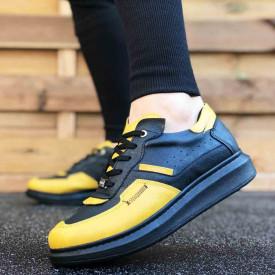 Pantofi sport barbati, negri, cu aplicatii galbene, ISAHAR