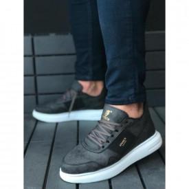 Pantofi sport barbati, negri, cu talpa inalta si cusuta, ISAHAR