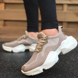 Pantofi sport bej, talpa usoara spuma, model premium, ISAHAR