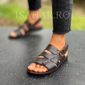 Sandale barbati, casual maro, ISAHAR