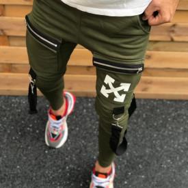 Pantaloni barbati, kaki, model casual, cu aplicatii pe picior, ISAHAR