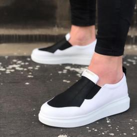Pantofi sport barbati, albi, cu aplicatii negre, ISAHAR