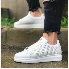 Pantofi sport barbati, albi, cu perforatii decorative, piele ecologica