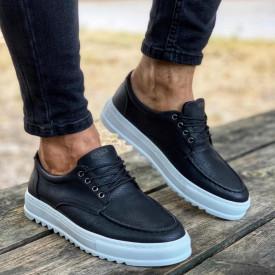 Pantofi sport barbati, negri, din piele ecologica, inchidere siret