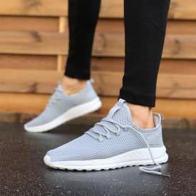 Pantofi sport gri, cu siret si talpa flexibila din spuma