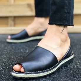 Sandale Avarca barbati negre, PIELE NATURALA, model casual, premium, Isahar
