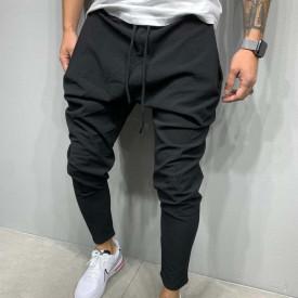 Pantaloni casual barbati, negri, pentru evenimente speciale, cu siret in talie, din bumbac, ISAHAR