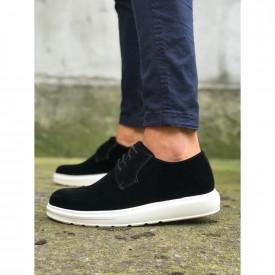 Pantofi casual barbati, negri, cu talpa inalta, confectionati din piele ecologica