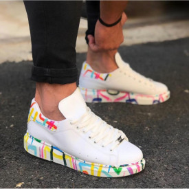 Pantofi sport barbati, albi, cu imprimeu colorat, ISAHAR