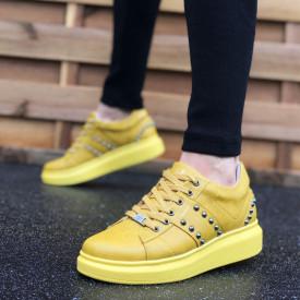 Pantofi sport barbati galbeni, cu aplicatii metalice, confectionati din piele ecologica