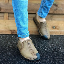 Pantofi sport barbati, maro inchis, fara siret, piele ecologica
