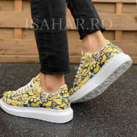 Pantofi sport barbati, model casual, cu imprimeu, ISAHAR
