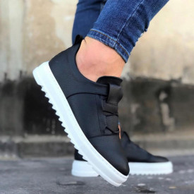 Pantofi sport barbati, negri, din piele ecologica, fara siret, ISAHAR